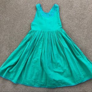 Mini Boden Green Embroidered Dress 9 10